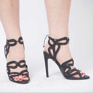 Zara Leather Laser Cut Heels, 6